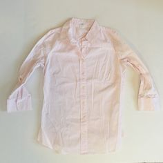 J Crew pink and white striped blouse. Medium. This pink and white striped blouse from J Crew is 97% cotton and 3% Spandex. Looks great with the Missoni sweater vest I'm selling. 3\4 sleeves. No rips, tears, pulls or stains. Pet free, smoke free home. Medium. J. Crew Tops Blouses