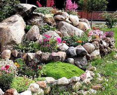 Kup teraz na Allegro.pl za 119,90 zł - EFEKTOWNY BARWNY MIX SKALNIAKOWY 12 BYLIN ZESTAW 1 (6622434623). Allegro.pl - Radość zakupów i bezpieczeństwo dzięki Programowi Ochrony Kupujących! Small Backyard Landscaping, Tropical Landscaping, Landscaping With Rocks, Landscaping Tips, Backyard Ideas, Sloped Backyard, Rock Garden Design, Small Garden Design, Garden Landscape Design