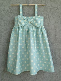 Light Blue Polka Dot baby/toddler Dress Easter by dreamcatcherbaby{The Ardent Sparrow}: Weekend Project {Big Sister Kits}Love these big bow dresses on etsy by dreamcatcherbaby!{The Ardent Sparrow}: Weekend, Don't forget to add enough to allow it to b Little Dresses, Little Girl Dresses, Bow Dresses, Little Girl Fashion, Kids Fashion, My Baby Girl, Baby Girls, Baby Sewing, Kind Mode