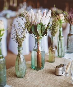 Wedding Flowers A simple idea for an eco wedding - recycled glass bottles as stem vases - Top tips and inspiration for beautiful and eco-friendly wedding decorations Protea Wedding, Floral Wedding, Wedding Day, Wedding Blog, How To Diy Wedding Flowers, Destination Wedding, Laid Back Wedding, Chic Wedding, Protea Bouquet