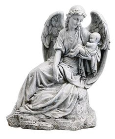 Guardian Angel With Baby Memorial Miscarriage Garden Statue Peaceful and loving statue of an angel holding a baby in her arms. A very nice gift for anyone who h