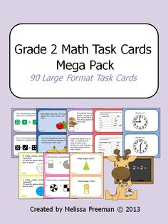 This Math Task Cards Pack contains 90 large format (half page each) task cards for second grade. It contains: - Double Digit Addition with Regrouping (10 cards) - Double Digit Subtraction with Regrouping (10 cards) - Graphing (10 cards) - Telling Time (10 cards) - Probability (10 cards) - Fractions (10 cards) - 3D Shapes (10 cards) - Money Word Problems (10 cards) - Equal Expressions (10 cards)