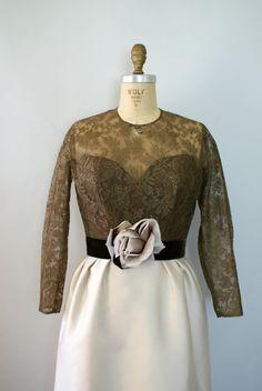 1960s Mocha Lace Cocktail Dress sweetbeefinds