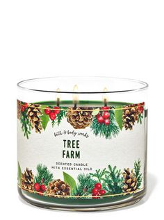Tree Farm 3-Wick Candle | Bath & Body Works Bath Candles, Mini Candles, 3 Wick Candles, Scented Candles, Candle Jars, What Is Christmas, Christmas Tree, Christmas Scents, Spiced Apples