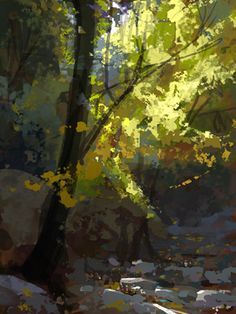 Land Sketch: Fall in Angeles Crest Forest, digital.