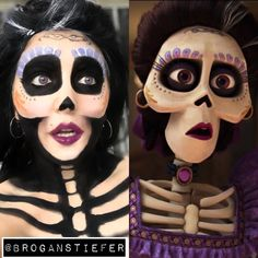 Mama Imelda from Coco! -Using water activated paints (Snazaroo) from Michaels … Mama Imelda from Coco! -Using water activated paints (Snazaroo) from Michaels and eyeshadow! perfect for a unique Halloween costume! Unique Halloween Costumes, Halloween Makeup Looks, Halloween Kostüm, Holidays Halloween, Disney Halloween Makeup, Costume Ideas, Halloween Fashion, Coco Costume, Costume Makeup