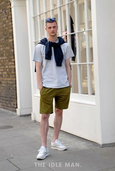 Men's street style   Short Casual - Nail city style in chino shorts and a crew neck tee, drape a fine wool jumper over your shoulders and you're good to go.   Shop the look at The Idle Man