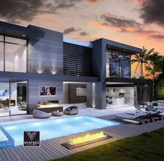 Welcome to Clifton an amazing house designed to impress you with the views, atmosphere and modern luxury architecture. Big Modern Houses, Modern House Design, Contemporary House Designs, Contemporary Cottage, Contemporary Homes, House Goals, Exterior Design, Exterior Paint, Facade Design