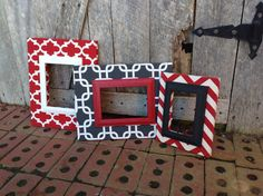 Wood Picture Frame Set Fabric Covered Wood by TheRedWoodBarn