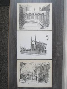 Signed Art Etching of Cambridge England x3 drawings of