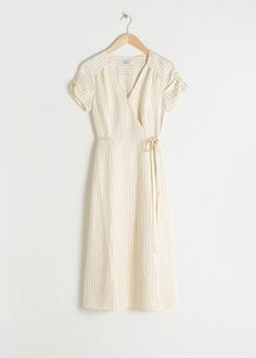 Striped Linen Blend Wrap Dress - Stripe - Wrap dresses - & Other Stories White Midi Dress, Striped Dress, Dress Outfits, Dress Up, Fashion Outfits, Picture Outfits, Lace Up Espadrilles, Everyday Dresses, Striped Linen