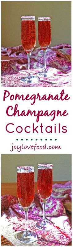 Pomegranate Champagne Cocktails - these pretty, purple-red-hued, sparkling cocktails are perfect for New Year's Eve, Valentine's Day or any festive occasion.