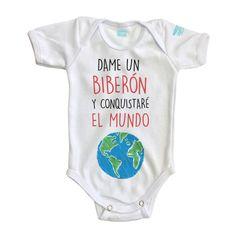 Pañalero Conquistar el Mundo. Bebes, body suit, baby, newborn, mexico, recien nacidos. Pañaleros para bebes. Ropa de bebe. Ropita de bebe. Diseños bebes