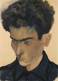 Pavel Tchelitchev (1898-1957) - Portrait of a Young Man, N/D    gouache and watercolour on light brown paper