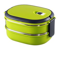 Amazon.com: Bento Boxes, HMOMI Stainless Steel Interior Two Tier Stacking Lunch Box with Vacuum Seal Lid Bento Lunch Box Food Storage Containers with Handle, Keep the Food Fresh and Healthy, a best Choice for Kids, Work and School (2 layer, Green): Kitchen & Dining