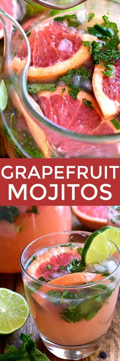 "If you love grapefruit...and cocktails...these Grapefruit Mojitos are for YOU! A delicious twist on the classic mojito recipe, these Grapefruit Mojitos combine grapefruit juice, lime juice, fresh mint, and rum in a refreshing drink that's sure to have you saying, ""Cheers!"""