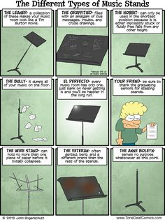 Different Types of Music Stands - band nerd humor at its finest Band Nerd, Books And Tea, Marching Band Memes, Marching Band Problems, Music Jokes, Funny Music, Band Jokes, Band Geek Humor, Flute
