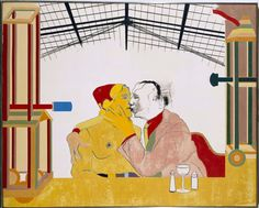 Kitaj - Where the Railroad Leaves the Sea (Donde el ferrocarril se aleja del mar) Art Pop, Yellow Submarine Art, Art Database, Cienfuegos, Art Music, American Artists, Art Sketches, Art Inspo, Illustrators