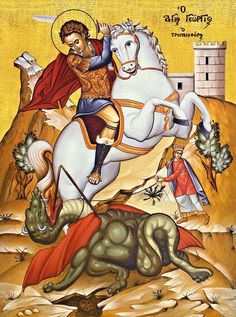 Purtătorul de biruință Byzantine Icons, Byzantine Art, Religious Icons, Religious Art, Hl Georg, Patron Saint Of England, Saint George And The Dragon, Christian Mysticism, Sign Of The Cross