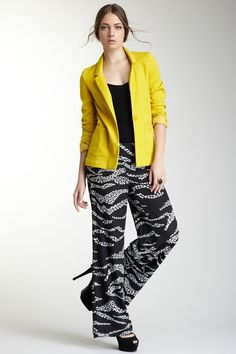 printed wide legged pants, black tank, bright blazer