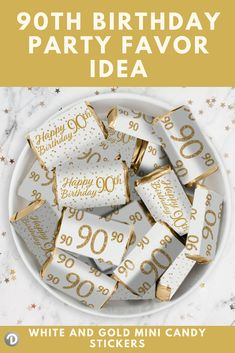 These White And Gold 90th Birthday Party Stickers Are Made To Perfectly Wrap Around HersheysR Miniatures Bars Whiteandgoldparty Whiteandgolddecor