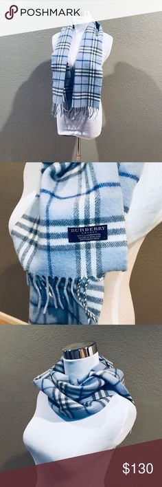 BURBERRY Light Blue Scarf 100% Lambs wool. 100% Authentic. Soft. Gorgeous light blue color. Rare color, was purchased in Asia Burberry store. Burberry Accessories Scarves & Wraps