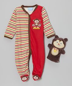 Take a look at this Brown Stripe Monkey Footie & Puppet - Infant by Duck Duck Goose on #zulily today!
