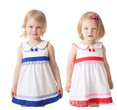 Children's 2015 Summer Girls CuteNavy Wind Tie Dress
