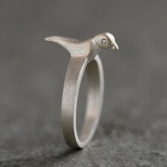 Bird Ring in Sterling Silver with Diamonds by MichelleChangJewelry