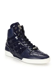 Versace - Quilted Patent Leather High-Top Sneakers