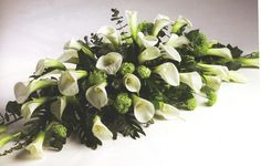 Elegant Calla Lily Spray - replace the foliage in this spray with the foliage you like from the Calls lily bouquet White Lilies, White Roses, White Flowers, Funeral Flower Arrangements, Funeral Flowers, Funeral Sprays, Cemetery Decorations, Lily Bouquet, Bouquets
