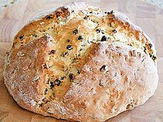 Irish Soda Bread  INGREDIENTS 2 c all-purpose unbleached flour 3 Tbsp granulated sugar  1-1/2 tsp baking powder  1/4 tsp salt  1/4 tsp baking soda  1/2 tsp caraway seed  1 c raisins  1 c buttermilk, divided