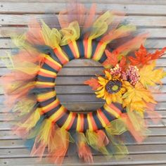 Brightly colored fall tulle wreath