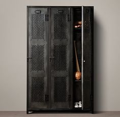 Vintage Locker 3-Door Perforated Cabinet