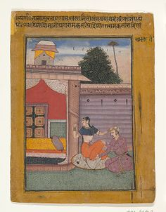 """Ramkali Ragini: Page from the Dispersed """"Berlin"""" Ragamala Series (Garland of Musical Modes) ca. 1605-6. Mughal-influenced? From the Met Museum."""