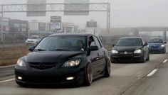 MazdaSpeed 3 black slammed