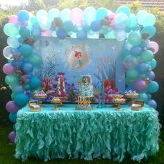 Beautiful Little Mermaid candy buffet.