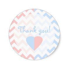 Blue & Pink Chevron Twins Baby Shower Thank You Sticker