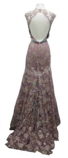 Monique Lhuillier Lavender Lace Gown | From a collection of rare vintage evening dresses at http://www.1stdibs.com/fashion/clothing/evening-dresses/
