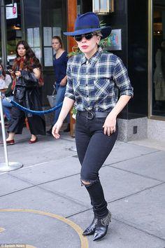 Lady Gaga wearing Maison Michel Virginie Hat