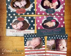 Baby Birth Announcement PSD Template Set by KayleeBugDesign