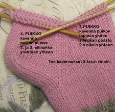 Sukat, helppo nauhakavennuskantapää - PunomoPunomo Corset Sewing Pattern, Crochet Gloves Pattern, Crochet Socks, Knitted Gloves, Knitting Socks, Knitting Designs, Knitting Patterns, Crochet Hooded Scarf, Knit Baby Booties
