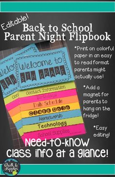 Back to School / Parent Night / Open House Flipbook - an easy way to get important information to parents for Meet the Teacher or Parent Night at the beginning of the school year. All text is editable! Includes detailed instructions with photos for easy assembly.