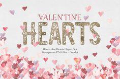 Watercolor Valentine Hearts | Graphic Design | Valentine Vectors | Valentines Day Graphic Design