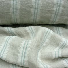 A Striped Seagreen Washed Linen Lined Curtains, Curtain Fabric, Linen Fabric, Made To Measure Curtains, Grain Sack, Roman Blinds, Upholstered Furniture, Natural Linen