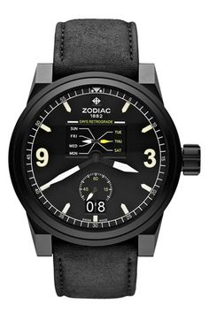 Zodiac 'Aviator' Leather Strap Watch, 48mm available at #Nordstrom