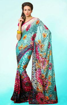 USD 55.72 Teal Blue Brasso Party Wear Saree  29793