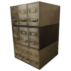 Rare Metal Stack Card File | From a unique collection of antique and modern cabinets at https://www.1stdibs.com/furniture/storage-case-pieces/cabinets/