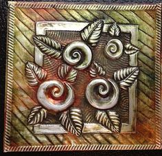 This was such an easy and fast project to do. I used MercArt gold aluminum and Color Solution alcohol Inks. Pewter Art, Pewter Metal, Tin Foil Art, Metal Worx, Soda Can Crafts, Sculpture Lessons, Sculpture Ideas, Embossing Techniques, Metal Embossing