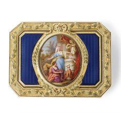 A Louis XV varicolor gold and enamel snuff box, Jean-Josep